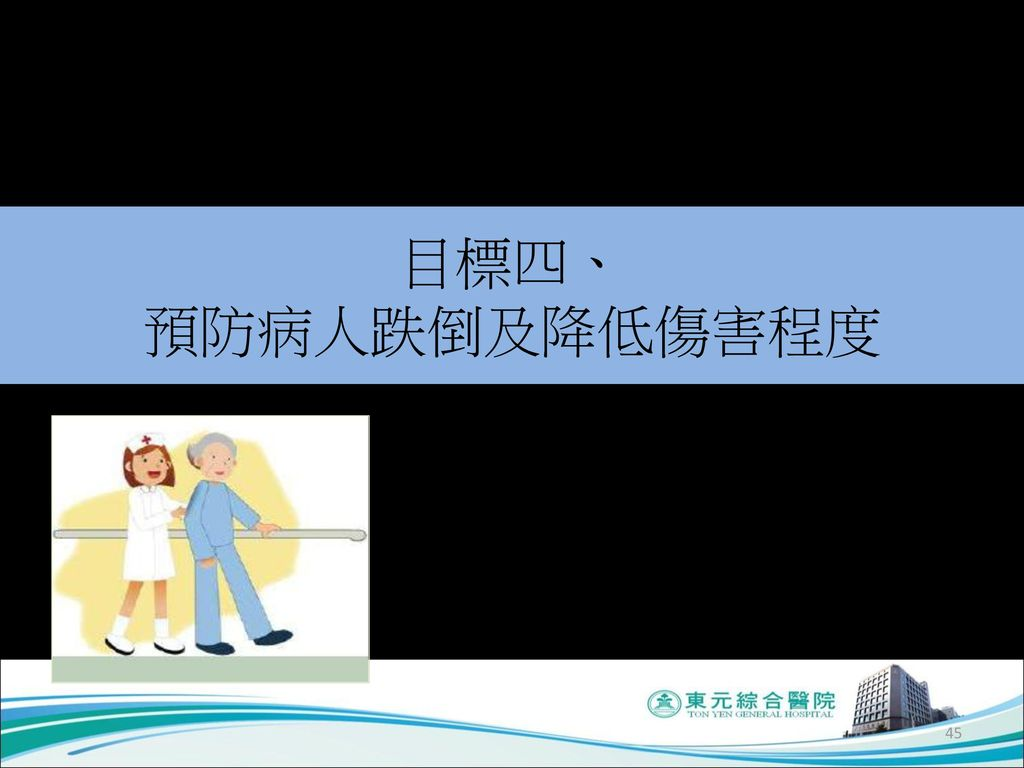 目標四、 預防病人跌倒及降低傷害程度