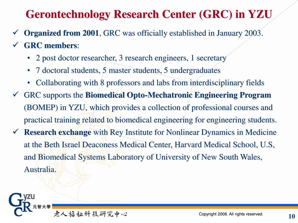 Gerontechnology Research Center (GRC) in YZU