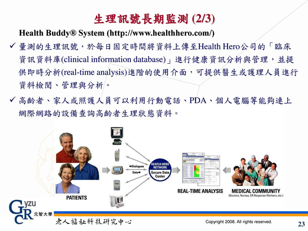 生理訊號長期監測 (2/3) Health Buddy® System (http://www.healthhero.com/)