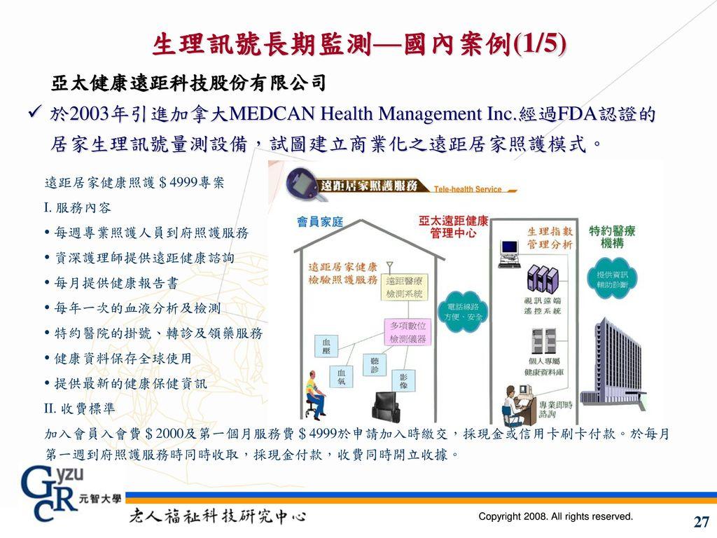生理訊號長期監測—國內案例(1/5) 亞太健康遠距科技股份有限公司