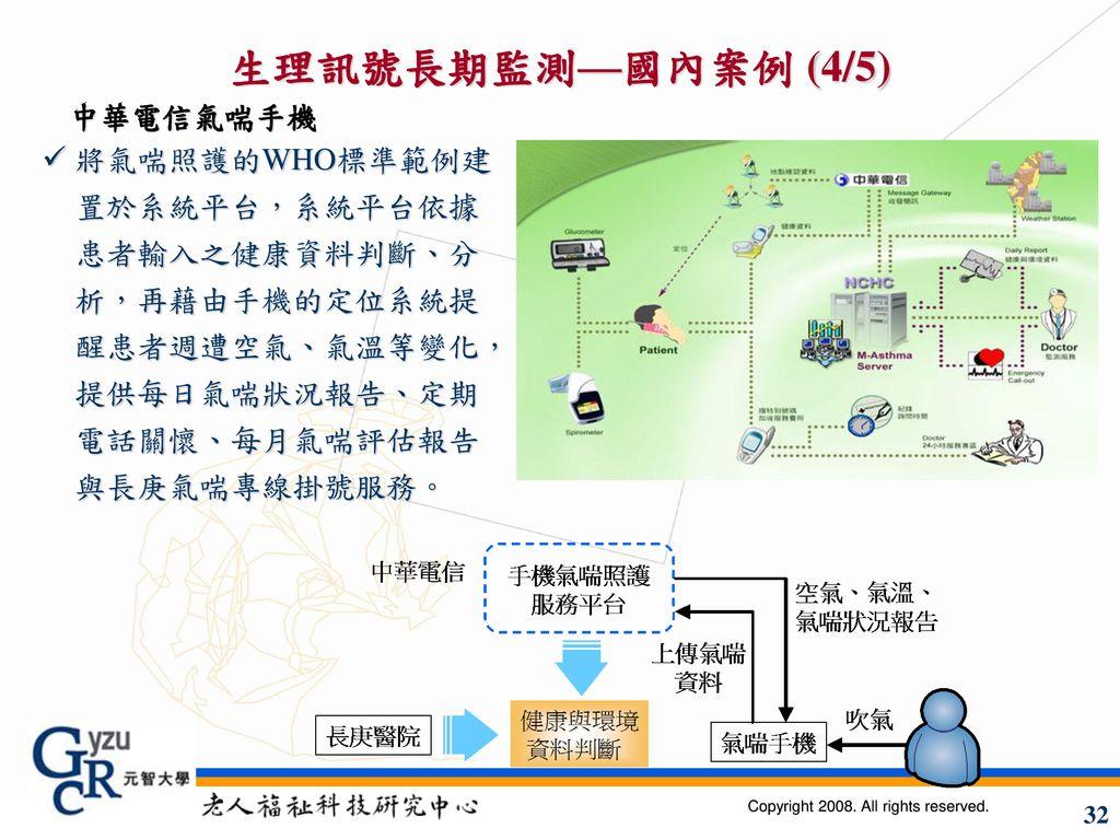 生理訊號長期監測—國內案例 (4/5) 中華電信氣喘手機