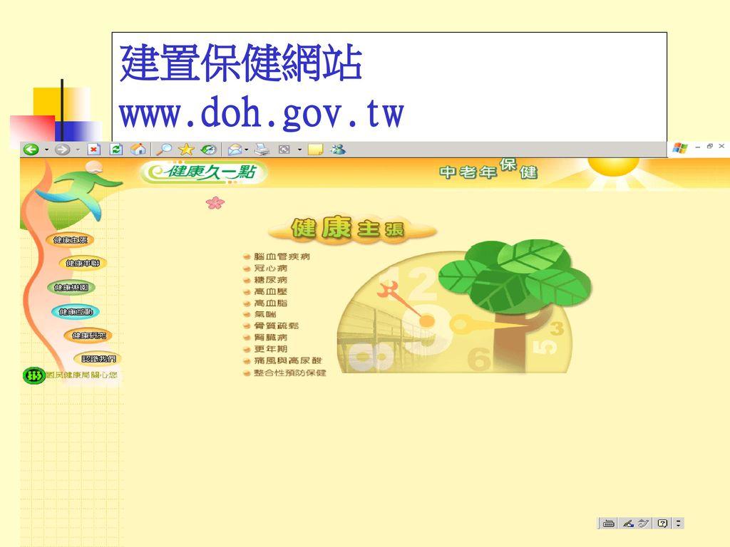 建置保健網站 www.doh.gov.tw