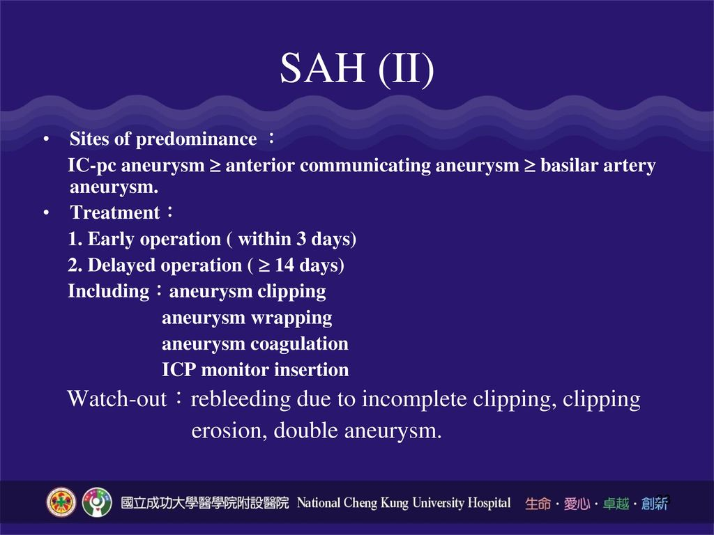 SAH (II) Watch-out:rebleeding due to incomplete clipping, clipping