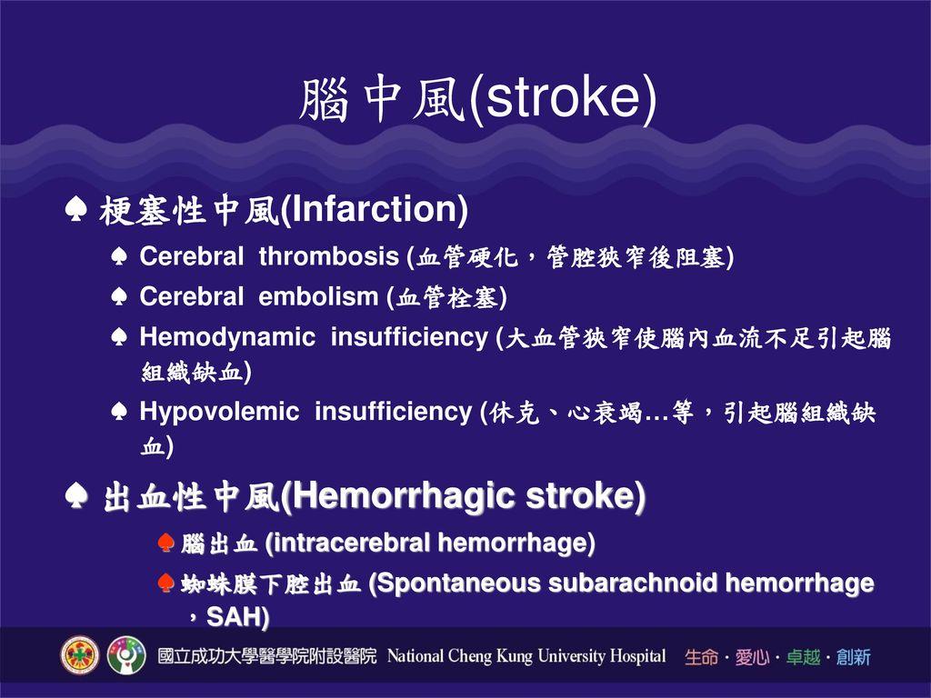 腦中風(stroke) 梗塞性中風(Infarction) 出血性中風(Hemorrhagic stroke)