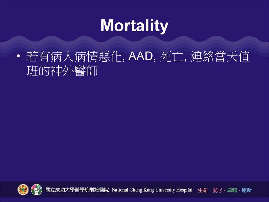 Mortality 若有病人病情惡化, AAD, 死亡, 連絡當天值班的神外醫師
