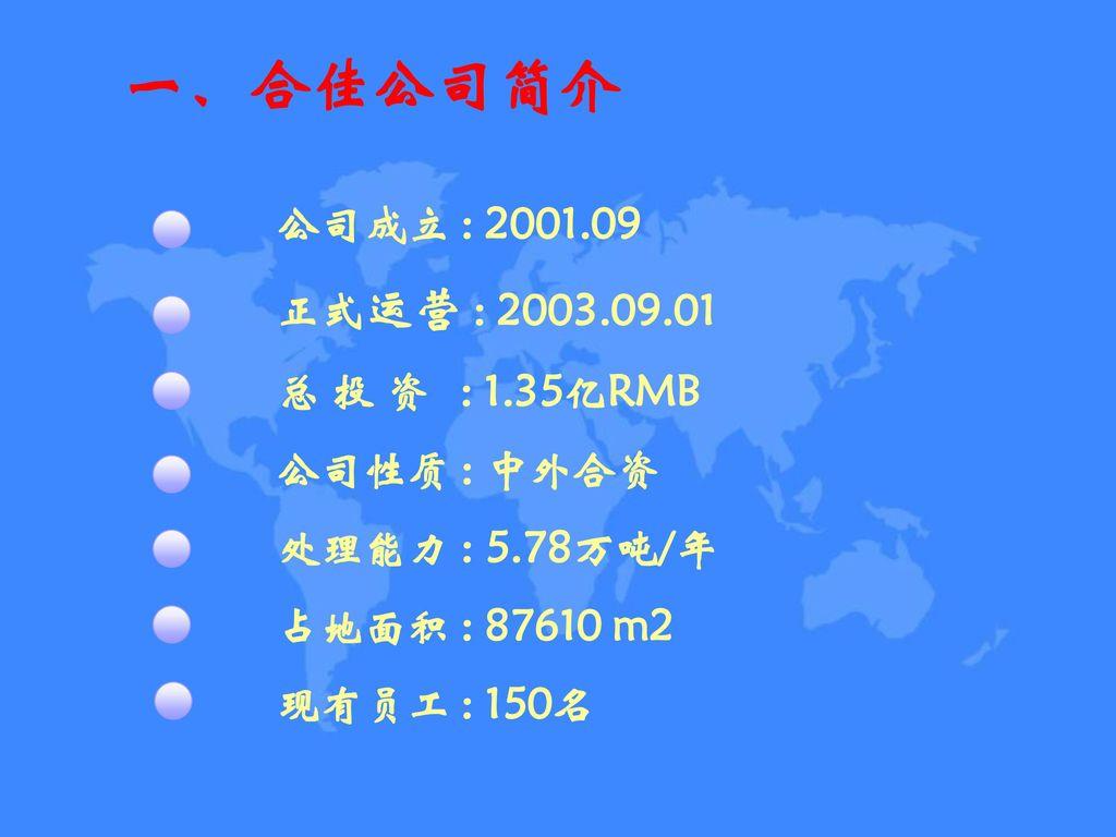 一、合佳公司简介 公司成立 : 2001.09 正式运营 : 2003.09.01 总 投 资 : 1.35亿RMB 公司性质 : 中外合资