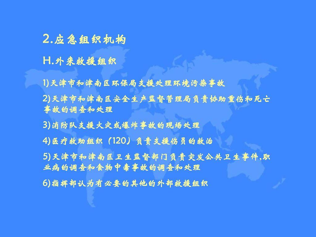 2.应急组织机构 H.外来救援组织 1)天津市和津南区环保局支援处理环境污染事故