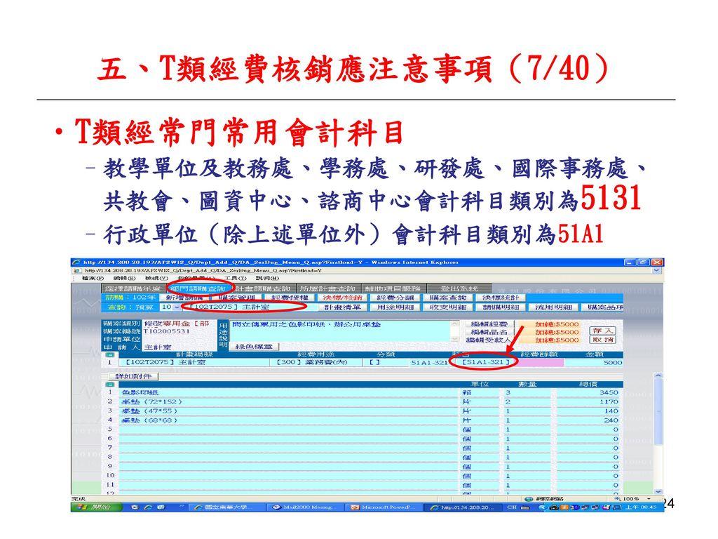 五、T類經費核銷應注意事項(7/40) T類經常門常用會計科目