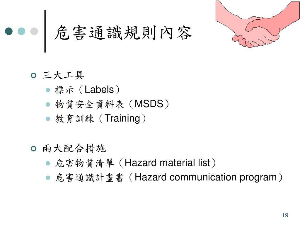 危害通識規則內容 三大工具 兩大配合措施 標示(Labels) 物質安全資料表(MSDS) 教育訓練(Training)