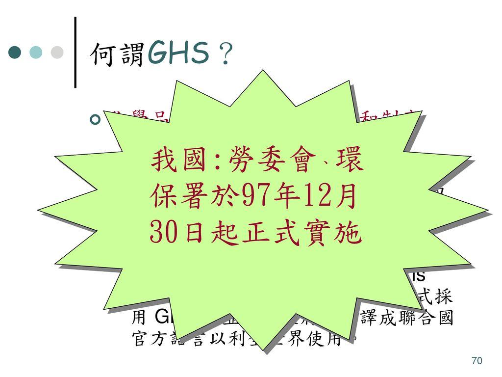 我國:勞委會、環保署於97年12月30日起正式實施 何謂GHS