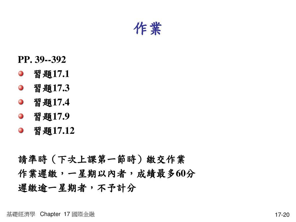 作業 PP. 39--392 習題17.1 習題17.3 習題17.4 習題17.9 習題17.12 請準時(下次上課第一節時)繳交作業