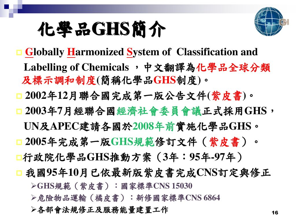化學品GHS簡介 Globally Harmonized System of Classification and