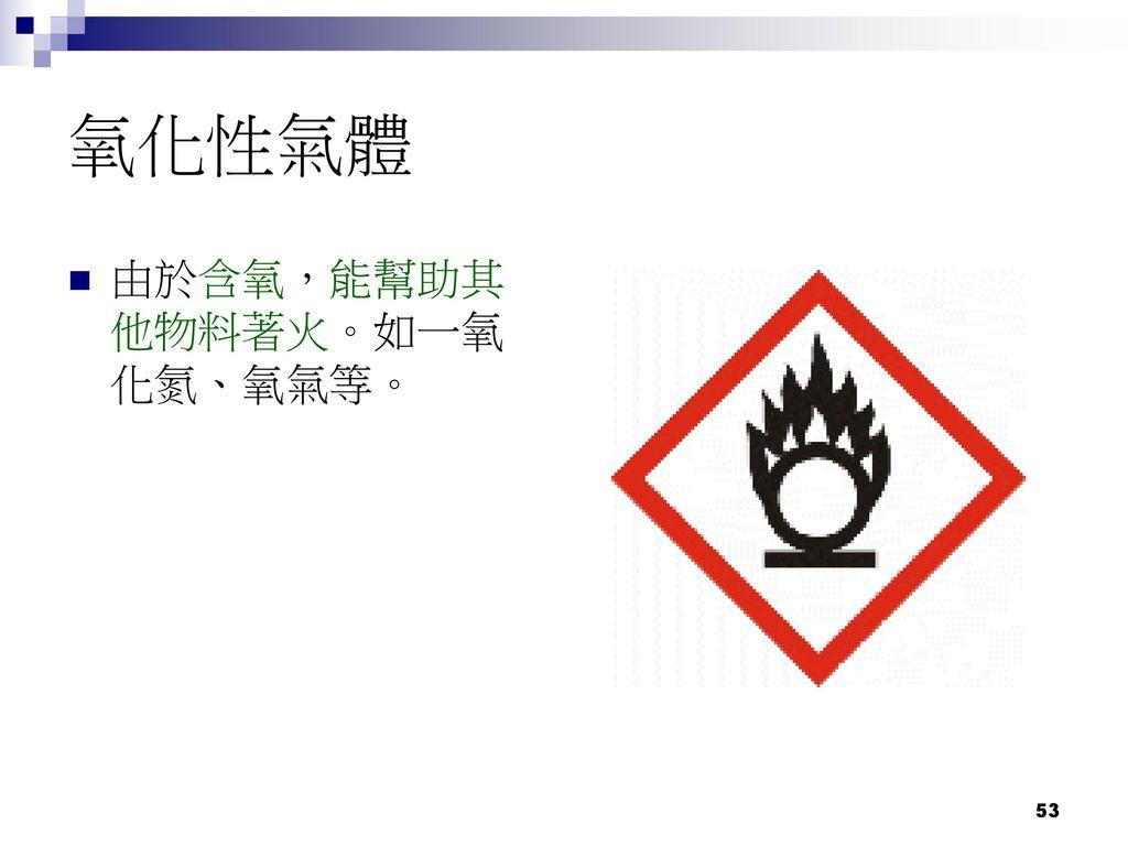 氧化性氣體 由於含氧,能幫助其他物料著火。如一氧化氮、氧氣等。