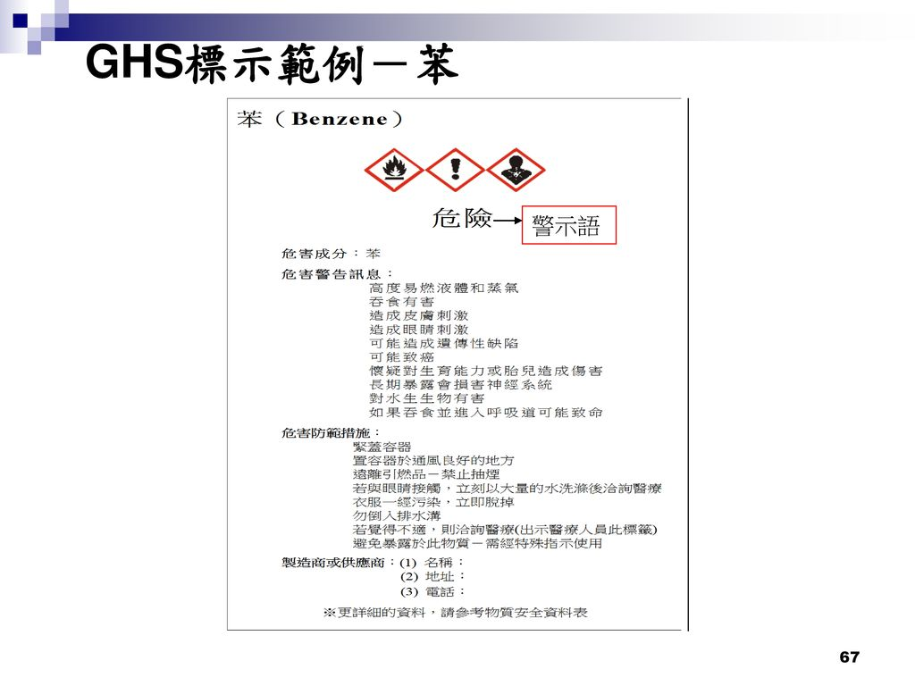 GHS標示範例-苯 警示語