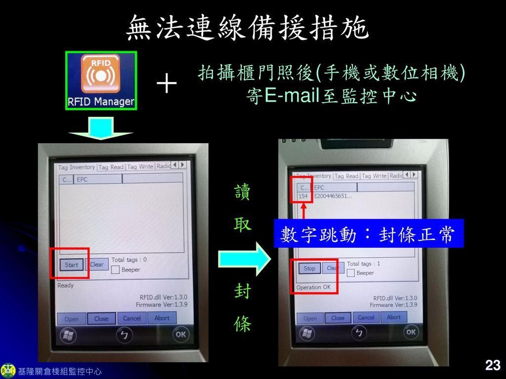 無法連線備援措施 + 拍攝櫃門照後(手機或數位相機) 寄E-mail至監控中心 讀 取 數字跳動:封條正常 封 條 23