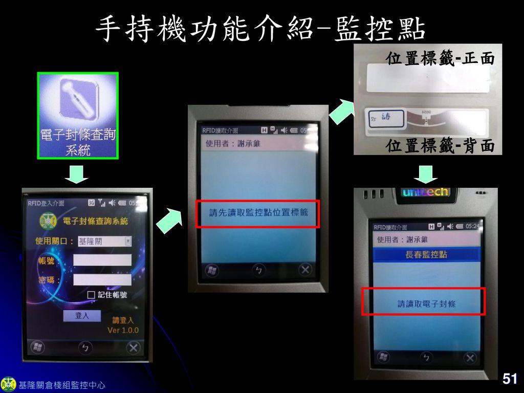 手持機功能介紹-監控點 位置標籤-正面 位置標籤-背面 51 基隆關倉棧組監控中心