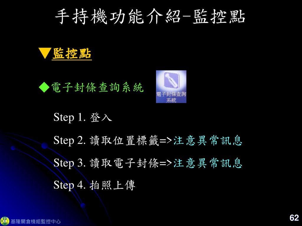 手持機功能介紹-監控點 ▼監控點 ◆電子封條查詢系統 Step 1. 登入 Step 2. 讀取位置標籤=>注意異常訊息