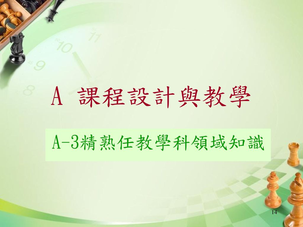 A 課程設計與教學 A-3精熟任教學科領域知識