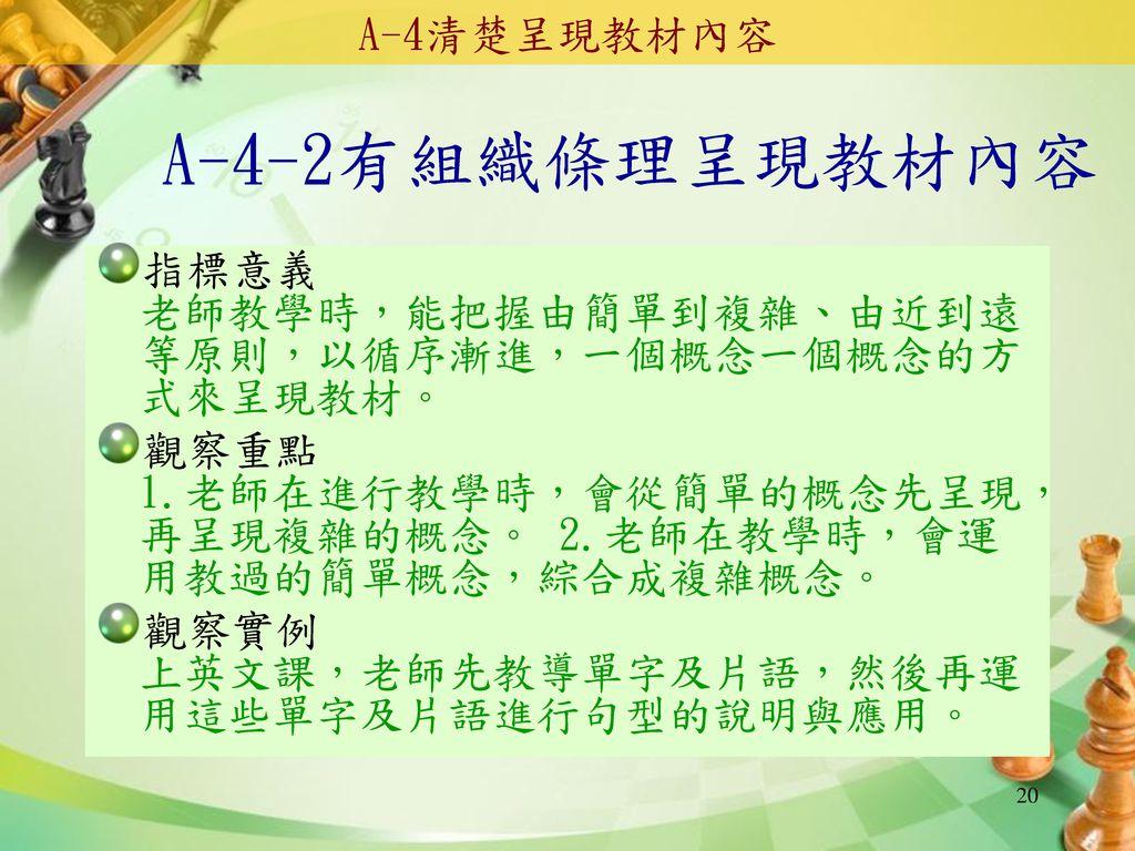 A-4-2有組織條理呈現教材內容 A-4清楚呈現教材內容