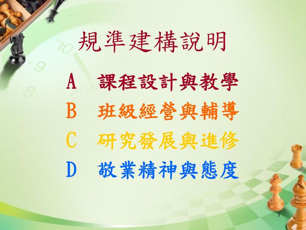 規準建構說明 A 課程設計與教學 B 班級經營與輔導 C 研究發展與進修 D 敬業精神與態度