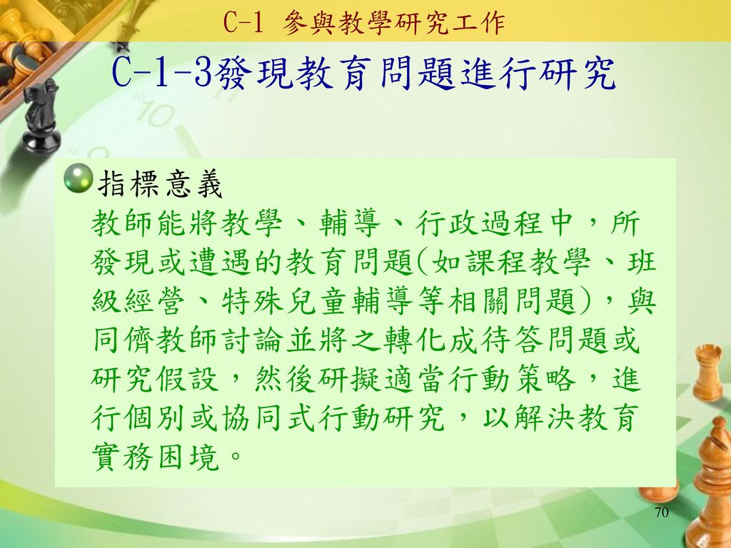 C-1 參與教學研究工作 C-1-3發現教育問題進行研究.