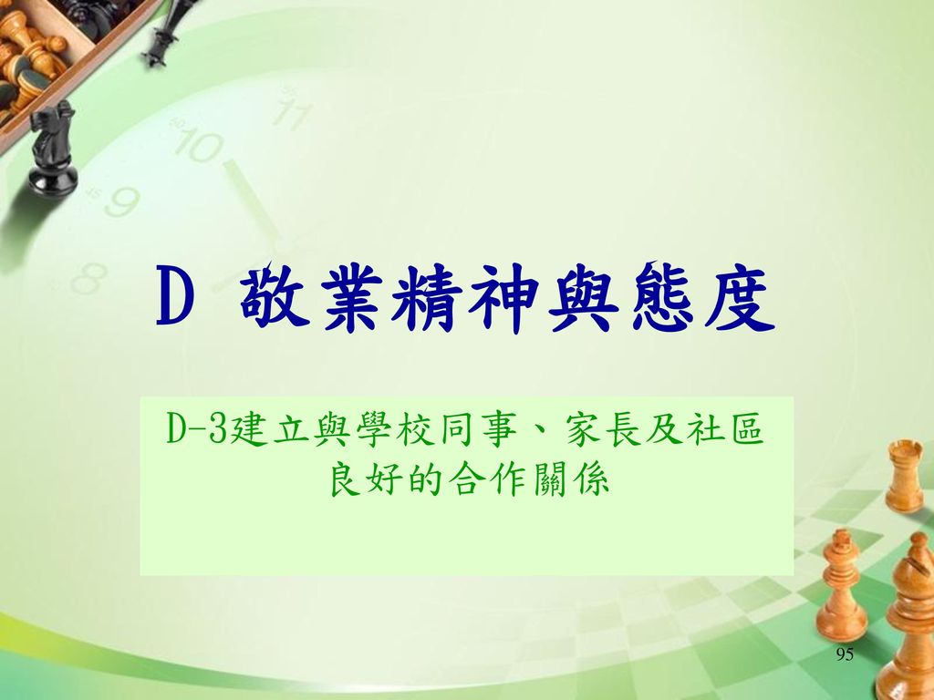 D-3建立與學校同事、家長及社區良好的合作關係
