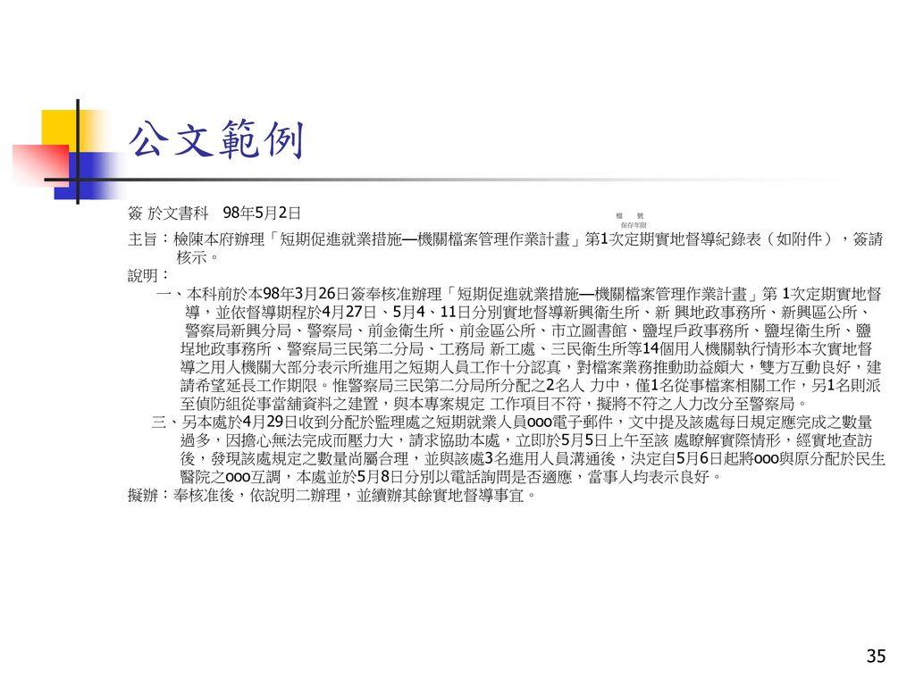 公文範例 簽 於文書科 98年5月2日 檔 號. 保存年限.