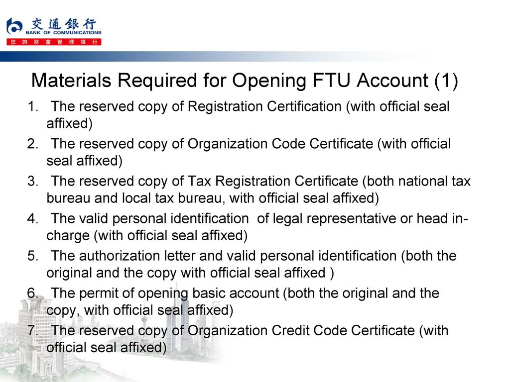 Materials Required for Opening FTU Account (1)