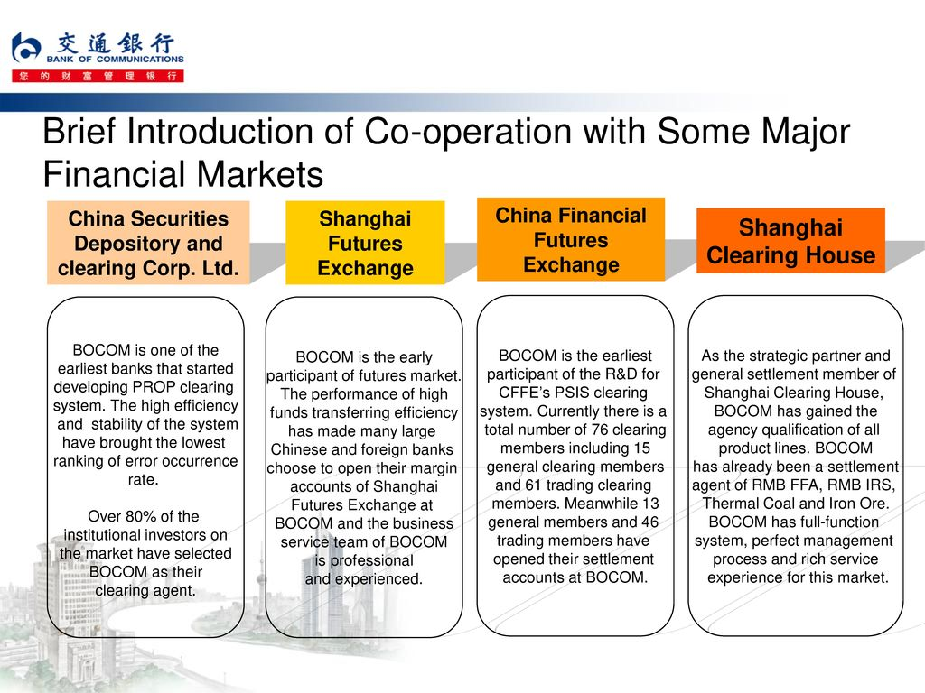 Brief Introduction of Co-operation with Some Major Financial Markets