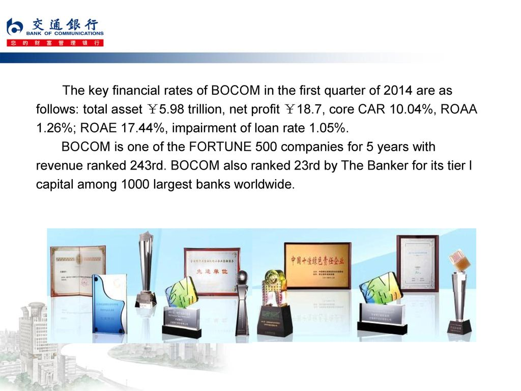 The key financial rates of BOCOM in the first quarter of 2014 are as follows: total asset ¥5.98 trillion, net profit ¥18.7, core CAR 10.04%, ROAA 1.26%; ROAE 17.44%, impairment of loan rate 1.05%.