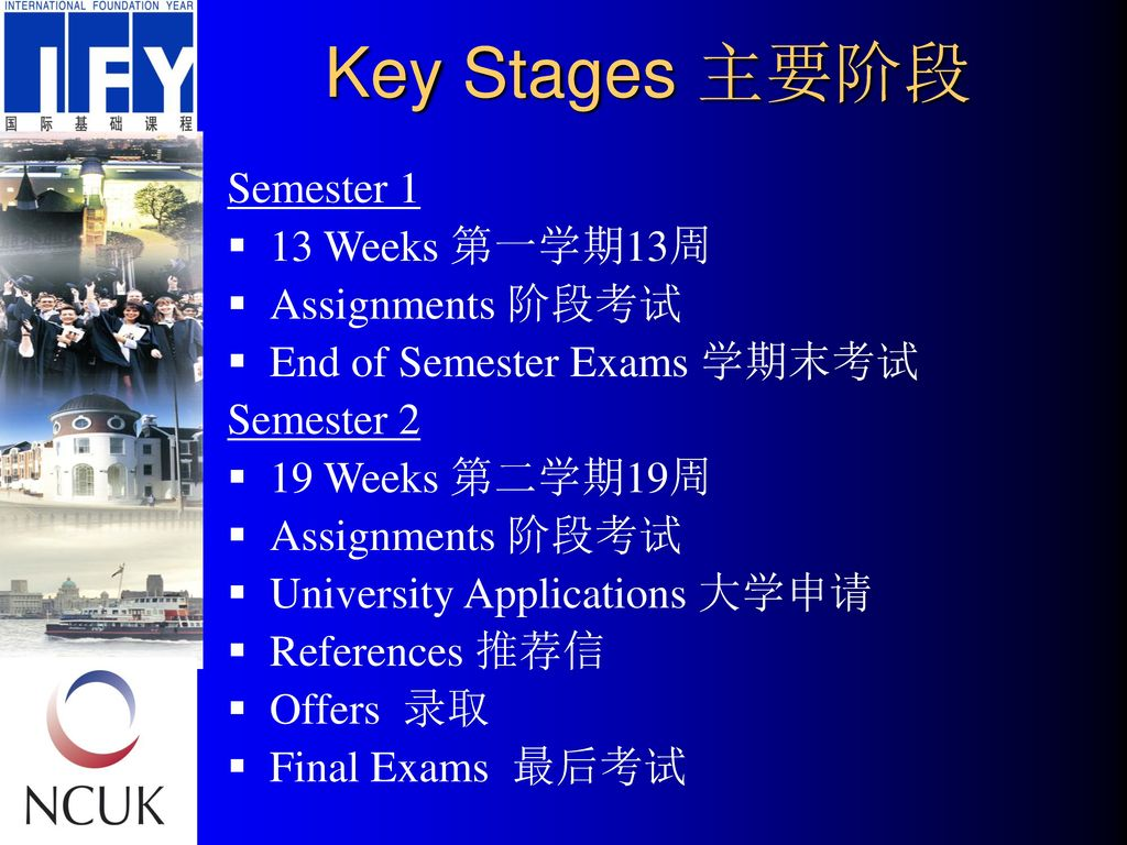 Key Stages 主要阶段 Semester 1 13 Weeks 第一学期13周 Assignments 阶段考试