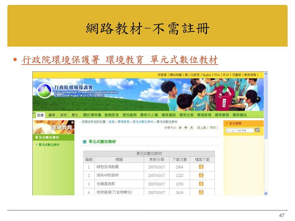 網路教材-不需註冊 行政院環境保護署 環境教育 單元式數位教材