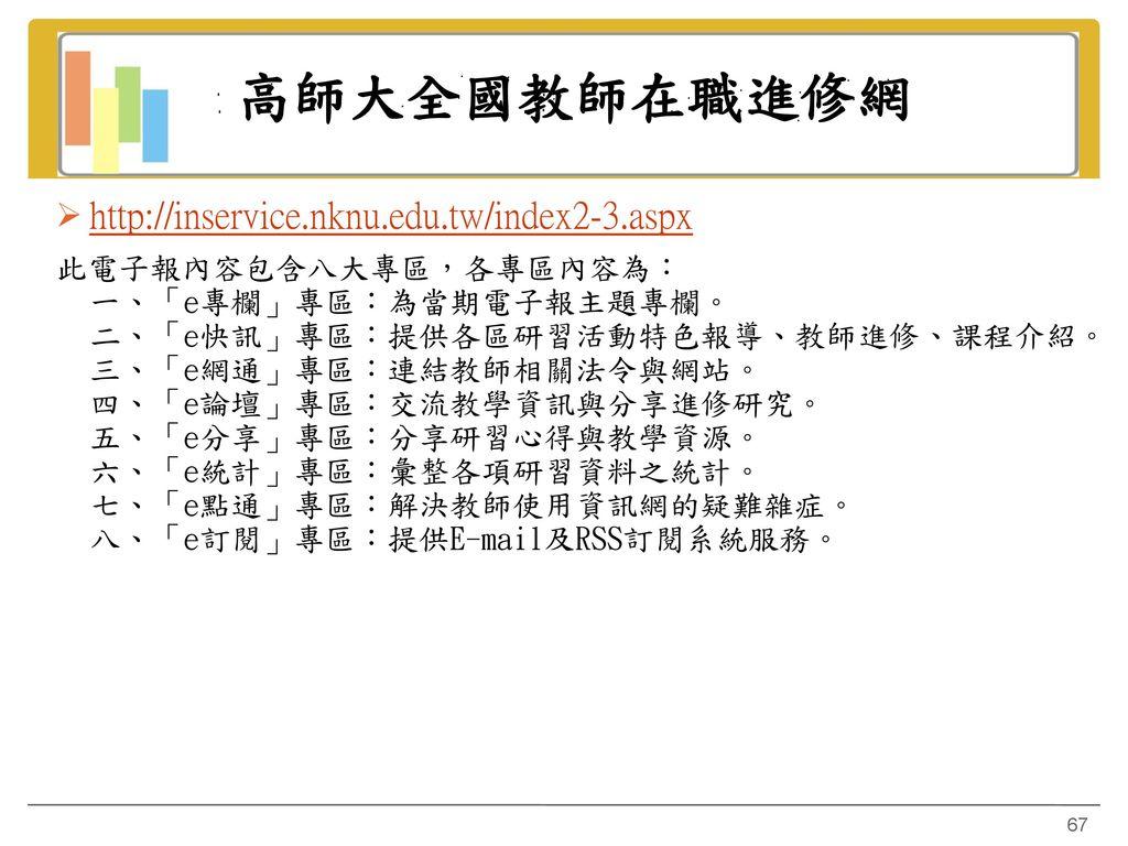 高師大全國教師在職進修網 http://inservice.nknu.edu.tw/index2-3.aspx