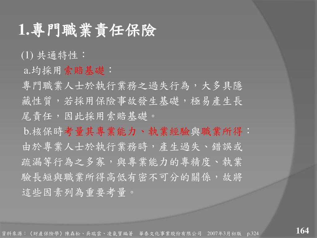 1.專門職業責任保險