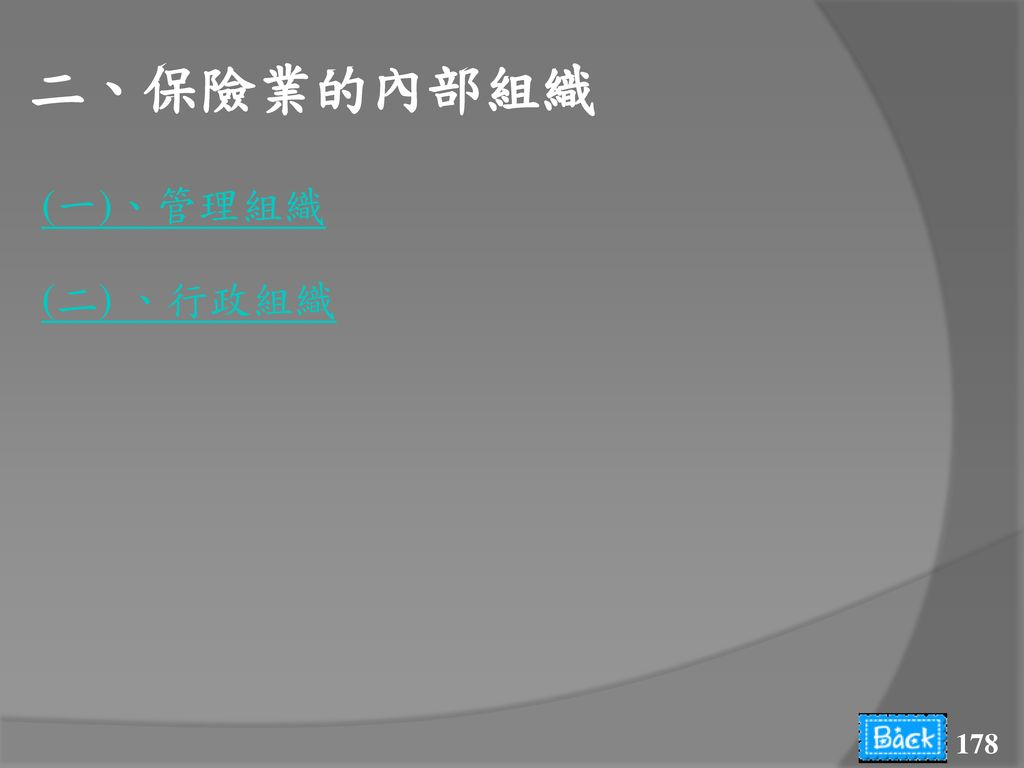 二、保險業的內部組織 (一)、管理組織 (二) 、行政組織