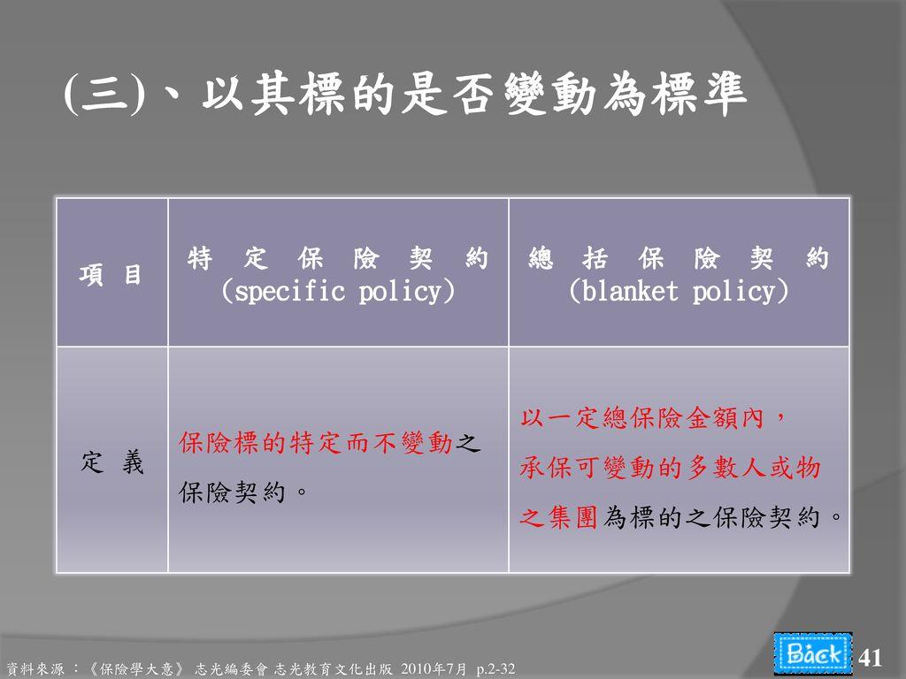 (三)、以其標的是否變動為標準 項 目 特 定 保 險 契 約 (specific policy) 總 括 保 險 契 約