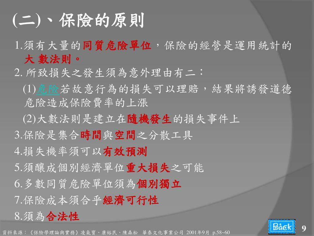 (二)、保險的原則