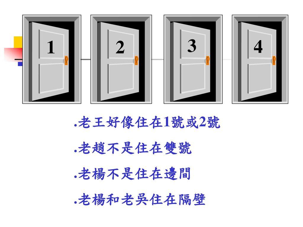 1 2 3 4 .老王好像住在1號或2號 .老趙不是住在雙號 .老楊不是住在邊間 .老楊和老吳住在隔壁