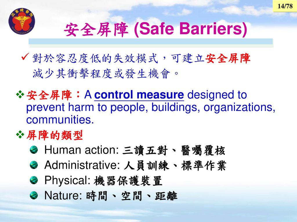 安全屏障 (Safe Barriers) 對於容忍度低的失效模式,可建立安全屏障 減少其衝擊程度或發生機會。