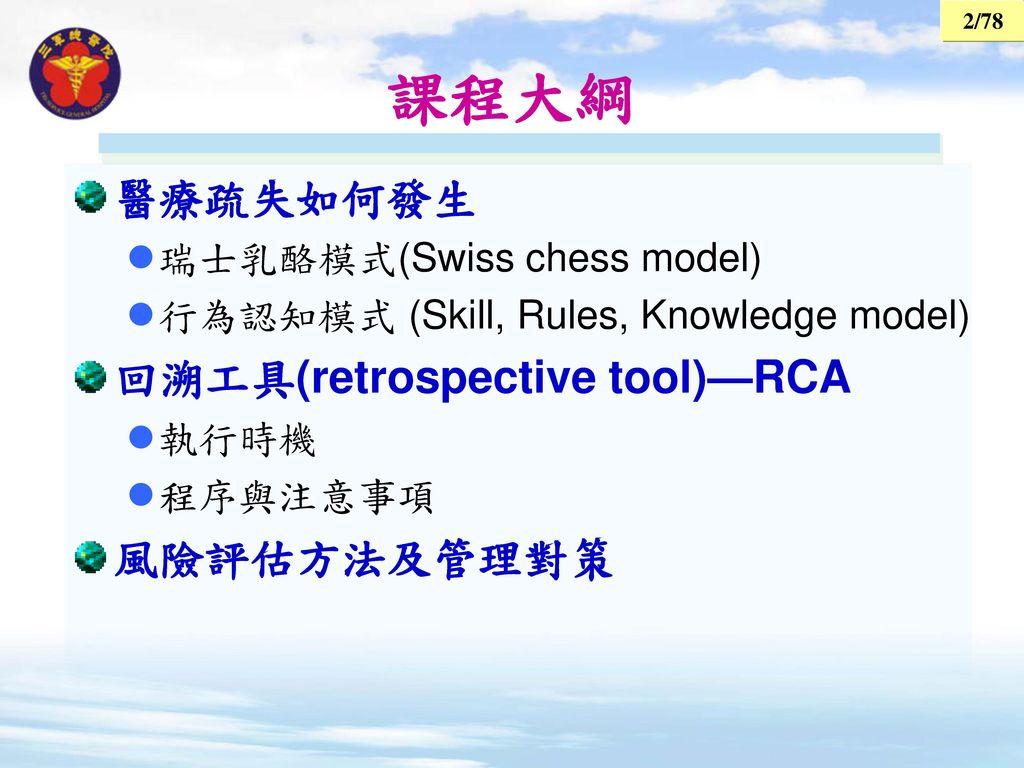 課程大綱 醫療疏失如何發生 回溯工具(retrospective tool)—RCA 風險評估方法及管理對策
