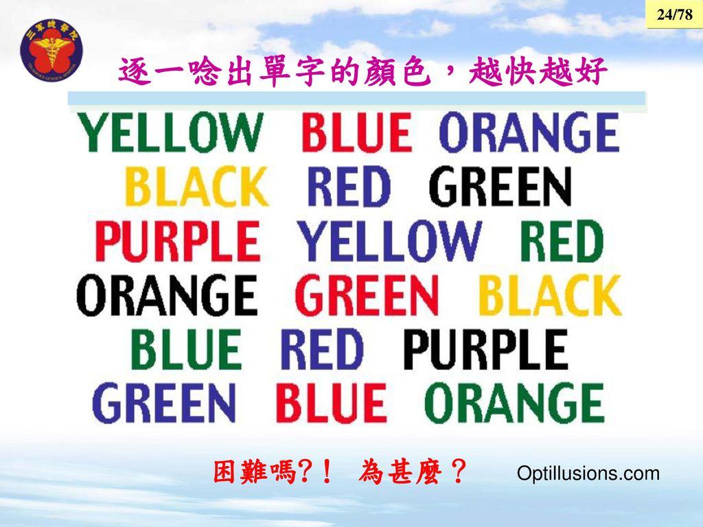逐一唸出單字的顏色,越快越好 困難嗎 ! 為甚麼? Optillusions.com