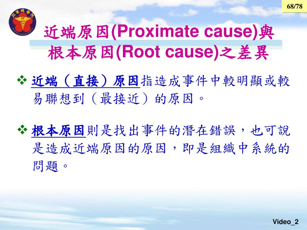 近端原因(Proximate cause)與 根本原因(Root cause)之差異