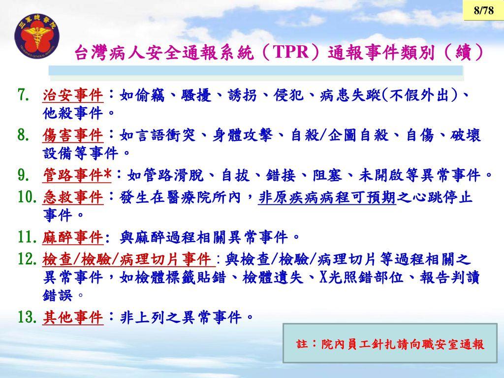台灣病人安全通報系統(TPR)通報事件類別(續)