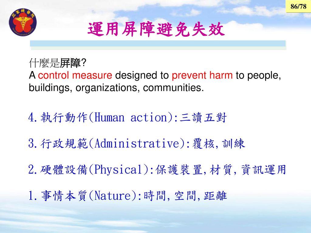 運用屏障避免失效 4.執行動作(Human action):三讀五對 3.行政規範(Administrative):覆核,訓練