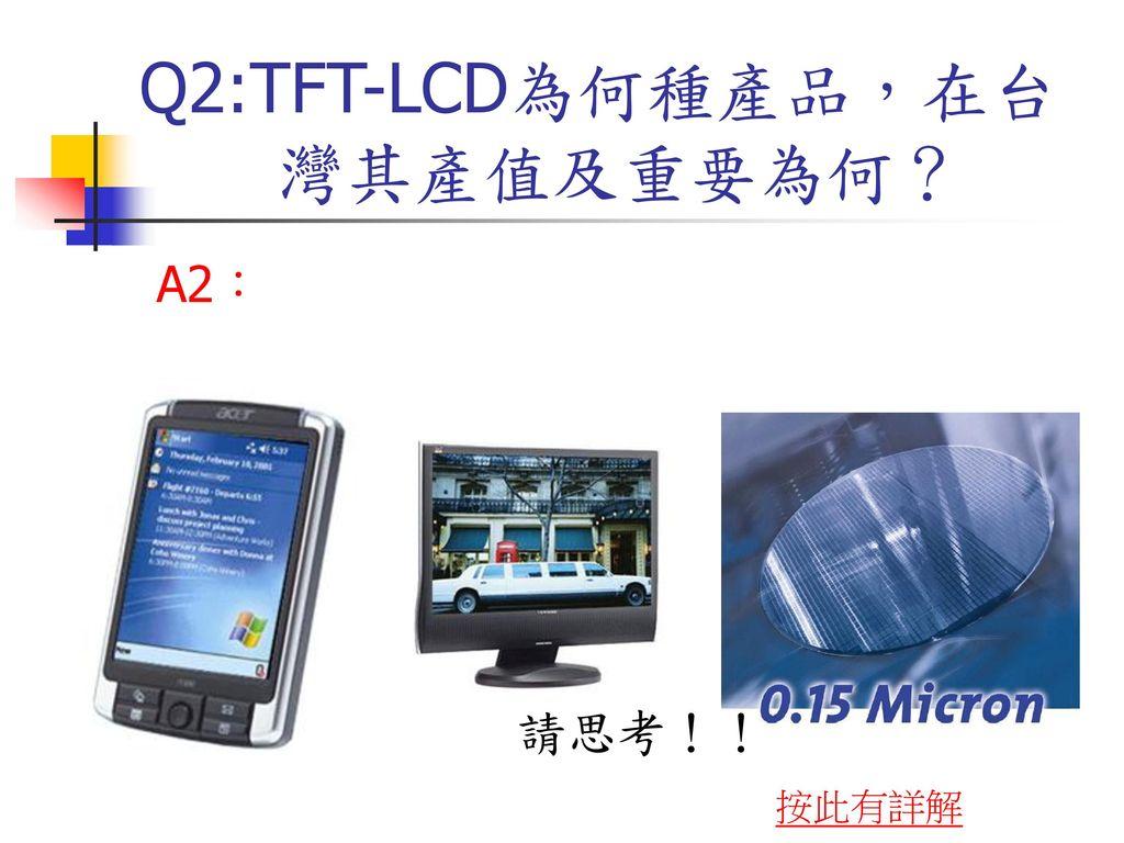 Q2:TFT-LCD為何種產品,在台 灣其產值及重要為何?