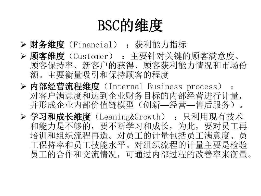 BSC的维度 财务维度(Financial) :获利能力指标