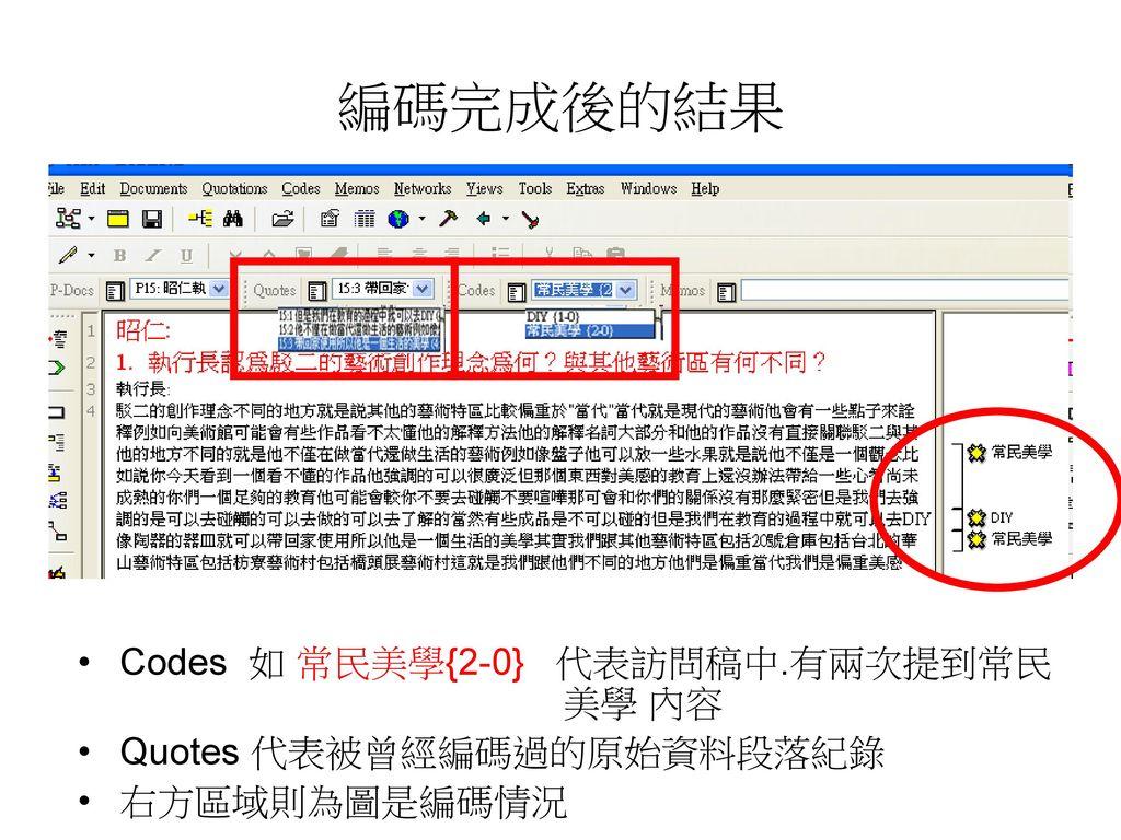 編碼完成後的結果 Codes 如 常民美學{2-0} 代表訪問稿中.有兩次提到常民 美學 內容