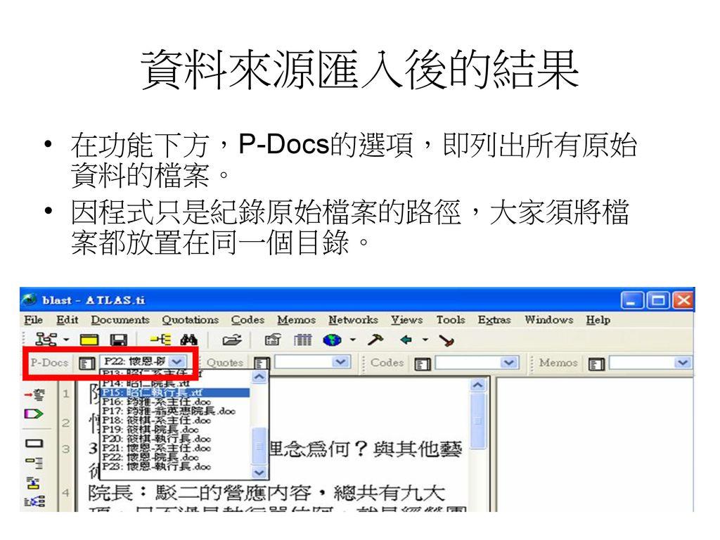資料來源匯入後的結果 在功能下方,P-Docs的選項,即列出所有原始資料的檔案。