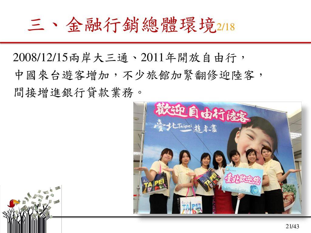 三、金融行銷總體環境2/18 2008/12/15兩岸大三通、2011年開放自由行, 中國來台遊客增加,不少旅館加緊翻修迎陸客,