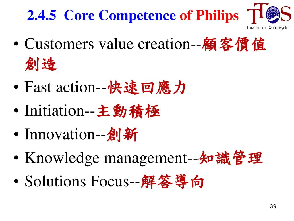 philips core competences Competency development: the fuel for innovation competence management  february 21, 2017 prepare your r&d organization today to ensure future  success.
